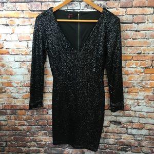 Black Sequins V Neck Bodycon Long Sleeve Dress